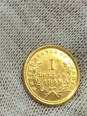 1849 $1 Open Wreath Gold Liberty Dollar Head Coin