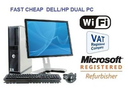 Full Dell/hp Dual Core/amd Desktop Tower Pc&tft Computer , Windows 10 &8Gb 3Tb