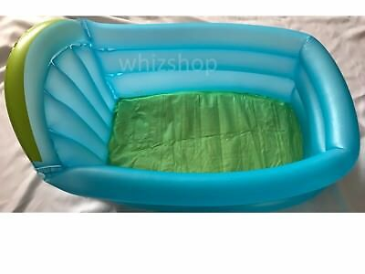 Inflatable Baby Children's Kids Bath Tub Travel Wash Tub Blue & Green- New