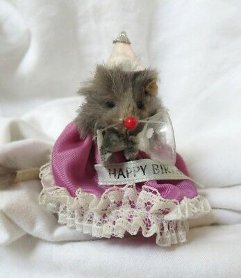 "Vintage Original Fur Animals - Made in W. Germany - ""Happy Birthday"" Mouse"