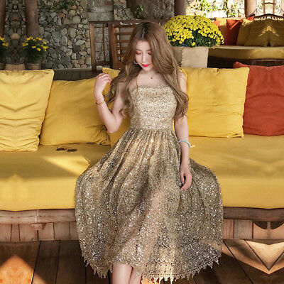 Sexy Lady Lace Floral Train Dresses Ladies Prom Bride Ball Gown Sleeveless dress