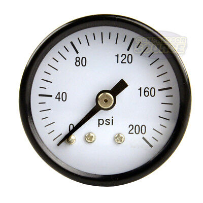 "1/8"" NPT Air Pressure Gauge 0 to 200 PSI Back Mount 1.5"" Face"
