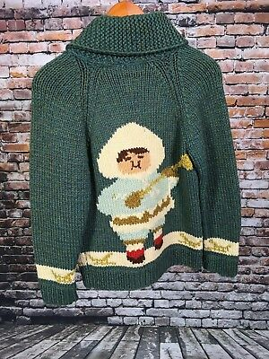 VTG 1960's Girl's Handmade Sweater Eskimo With Hat Grandma Cowichan Knit