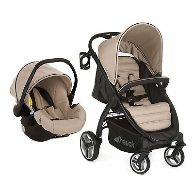 Hauck  Lift Up 4 Shop N Drive Travel System 1 Hand Fold Pushchair+Carseat Sand