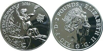 2016 Great Britain .999 Silver 2 Pounds Lunar Monkey Uncirculated