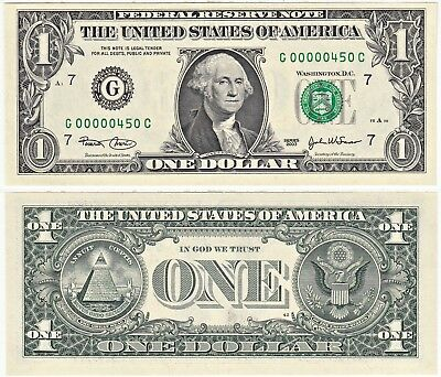 2003 $1 Federal Reserve Note Chicago District 3 Digit Serial Number G00000450C