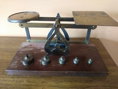 Vintage Brass Postal Balance Scale With 5 Brass Weights!