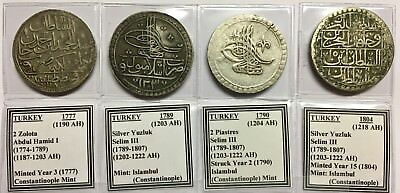 Lot 0F 4 Old Silver Dollar-Size Coins From Ottoman Turkey -- Low Opening Bid