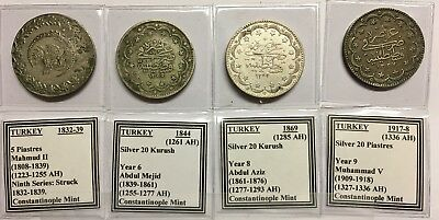 Lot 0F 4 Nice Silver Dollar-Size Coins From Ottoman Turkey -- Low Opening Bid