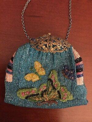 Antique Art Deco Glass Seed Beaded Purse, Vibrant Papillon (butterfly) pattern