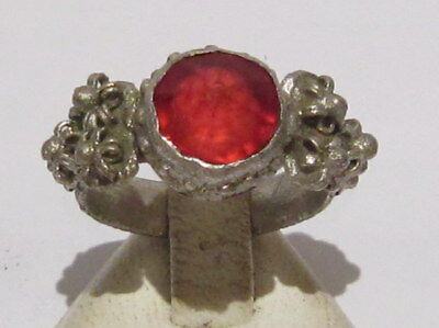 Amazing Post-Medieval Silver Ring With Beautiful Filigree,red Glass Stone  # 609