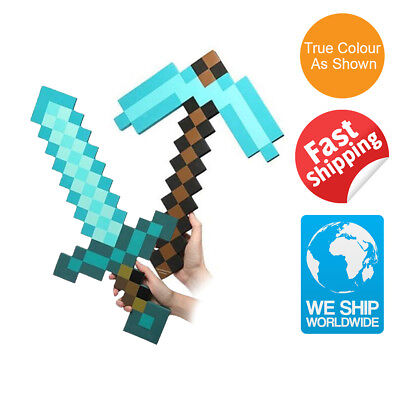 Minecraft Sword Pickaxe Set Large Diamond Blue EVA Plush Doll Soft Toy Mosaic