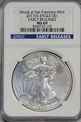 2011-S (S) American Silver Eagle NGC MS69 Struck At San Francisco Early Release