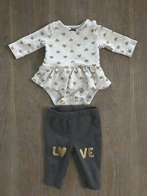 88a0654f1 Carters Infant Girls Gold Heart Baby Outfit 2 Pc Love Bodysuit & Leggings  Set NB
