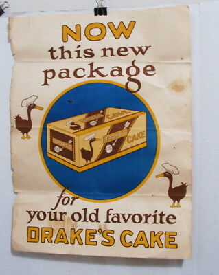 Original 1940's Drake's Cake Your World Famous Paper Poster