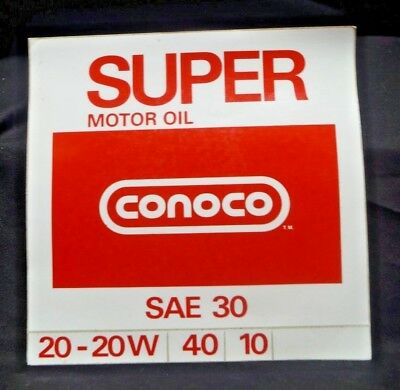 """1970s NOS Conoco SUPER Gas Oil Advertising Service Station LARGE 8"""" Sticker"""