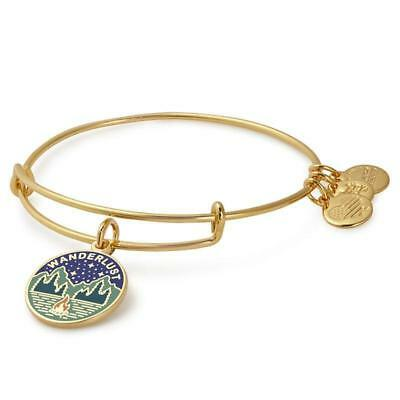 ALEX and ANI~ WORDS ARE POWERFUL~WANDERLUST~ Shiny Gold Bangle Bracelet~NWT $38