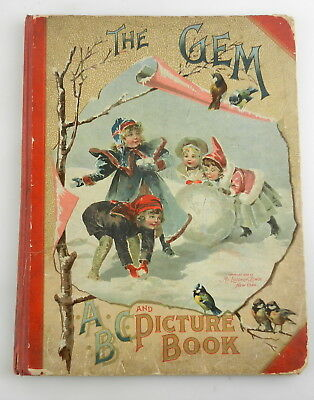 Antique THE GEM ABC & PICTURES Childrens Illustrated Story Book MCLOUGHLIN   T28