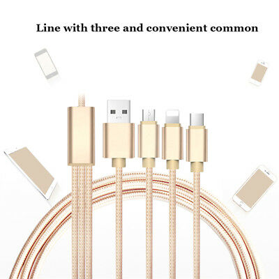 3 in 1 Multi Charging Cable Micro USB Type C Nylon Braided  for iPhone Android