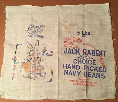 Vintage 5# Jack Rabbit Navy Beans Saginaw Mi Feed Sack W/embroidery Back Panel