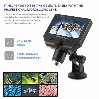 "4.3"" HD OLED Screen 600x USB Electronic Microscope Lcd Digital Video Camera HM"
