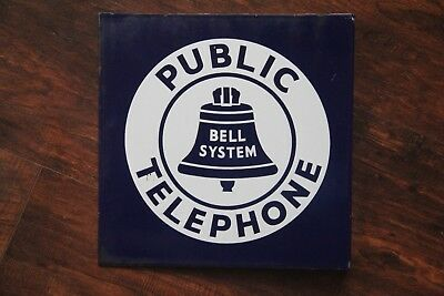 Vintage Porcelain Bell System Public Telephone Double Sided Flange Free Shipping