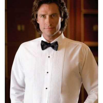 White Laydown Tuxedo Pleated Tuxedo Shirt Tux Poly Cot Blend ALL SIZES TUXXMAN