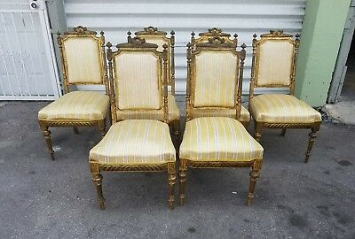 6  Antique French Louis Xvi Dining Room Chairs