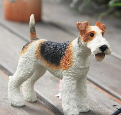 Fox Terrier Dog Hand Painted Resin Figurine Statue simulation model