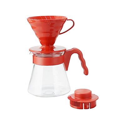 Brand New Hario V60 Coffee Dripper and Pot Server Set, Size 2, Microwavable, Red