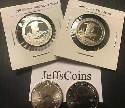 2018 P D S S Block Island 4 Quarter Set PD Unc / Clad & 90% Silver Proof