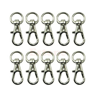 10pcs Metal Clasp Swivel Trigger Clips Snap Hooks Key Ring Bags DIY Craft Silver