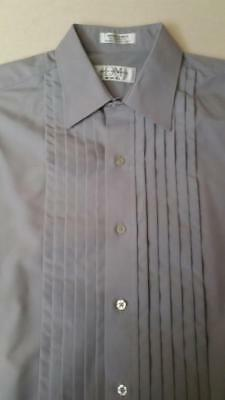 Rare Dove Gray Pleated Tuxedo Shirt Microfiber Laydown Spread collar TUXXMAN