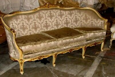 Outstanding Polychrome Painted Gilded Louis XV Corbeille Sofa Settee Canapé