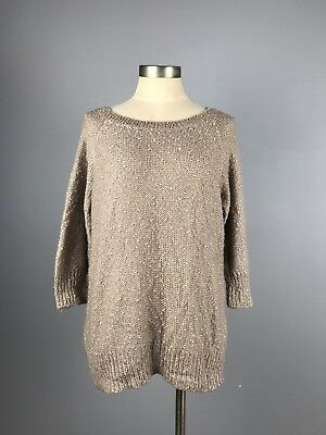 A Pea In The Pod Rose Gold Metallic Knit Maternity 3/4 Sleeve Sweater M