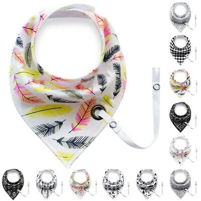 Baby Infant Toddler Soft Triangle Bandana Bib Saliva Towel with Pacifier Clip A