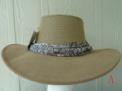 Genuine AUSSIE MADE 'Coastline' Suede leather Hat(Tan) Bush hat,SIZE S, M, L, XL
