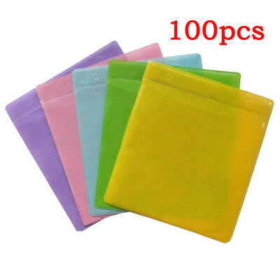 100pcs DVD CD Disc Double Side Cover Storage Case Plastic Bag Sleeve Pack US