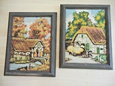 Tapestry Pair English Thatched Cottages Completed & Framed