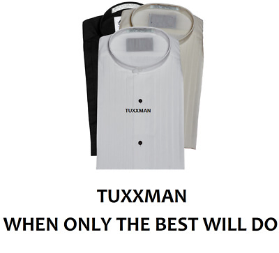 Nice White Mandarin Banded Chinese collar Pleated Tuxedo Shirt TUXXMAN
