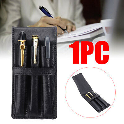 PU Leather Pencil Fountain Pen Storage Case Pouch Bag Holder Black for 3 Pens