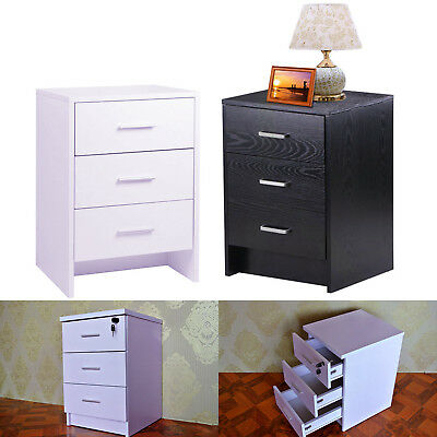 Bedside Table 3 Drawers Bedside Cabinet Night Stand 3 Silver Metal Handles Black