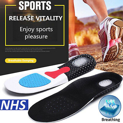Unisex Orthotic Arch Support Shoe Insoles Sport Comfort Shock Absorb Gel Heel UK