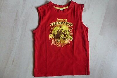 Kinder T-Shirt Muskelshirt ohne Arm   Gr. 122 128 rot mit Grizzly Bär