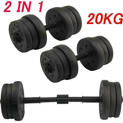 Dumbells Set 20kg Adjustable Free Weights Barbell Bar Spinlock Vinyl Fitness