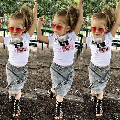 US Seller Newborn Kid Baby Girl Tops T-shirt Fashion Skirts Dress Outfit Clothes