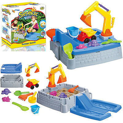 2 in 1 Kids Sand Box Water Table Outdoor Garden Play Set Truck Crane Sandpit Toy