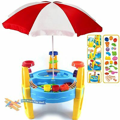 Large Sand and Water Table with Parasol Umbrella Garden Sandpit Play Set Toy