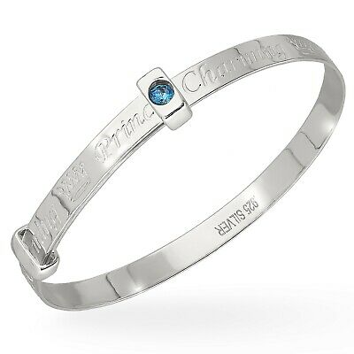 925 Fine Silver Blue Cubic Zirconia Prince Charming Expanding Boys Baby Bangle