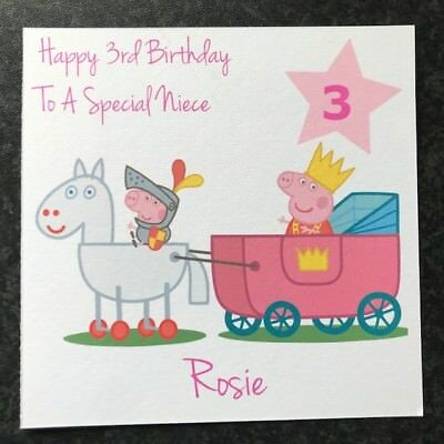 Personalised Girls Pig Birthday Card 1st 2nd 3rd 4th 5th Any Age